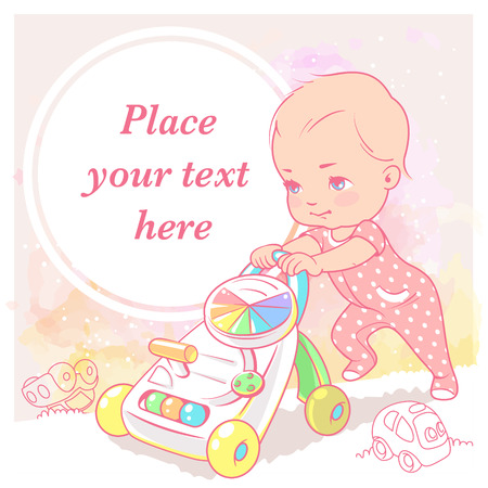 cute little girl. Learn and walk toy. Baby's first steps. Toddler star to walk. Preset for your blog. Template for mother's page in social media. Vector illustration.