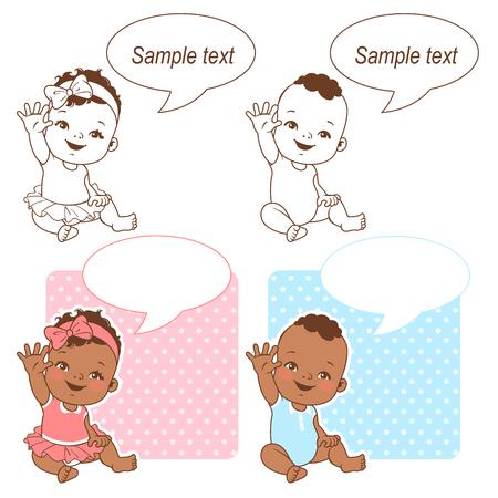 Ensemble de douche de bébé. Petite fille et petit garçon avec texte en bulle. Dis bonjour maman ou jour. C'est un garçon, c'est une carte de fille. Enfants à la peau foncée. Bébé ethnique. Illustration vectorielle de couleur et contour monochrome. Vecteurs