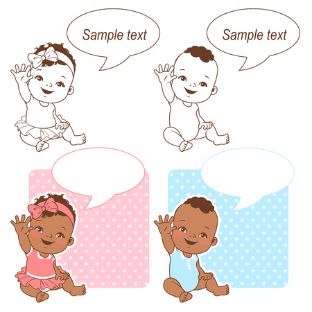 Baby shower set. Baby girl and baby boy with bubble text. Say hello mom or day. Its a boy, its a girl card. Dark skin children. Ethnic baby. Color and monochrome outline vector illustration.