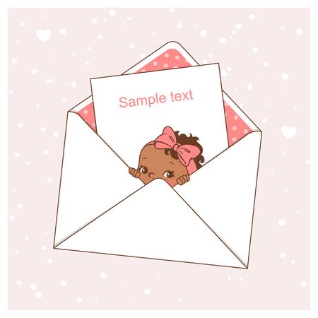 Baby shower card. Cute little baby girl in envelope. Ethnic children. Dark skin baby shower design template. Vector illustration.