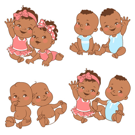 Baby shower set. Baby girl and baby boy with bubble text. Say hello mom or day. Different pairs of siblingsTwin shower card. Dark skin children. Ethnic baby. Vector illustration.