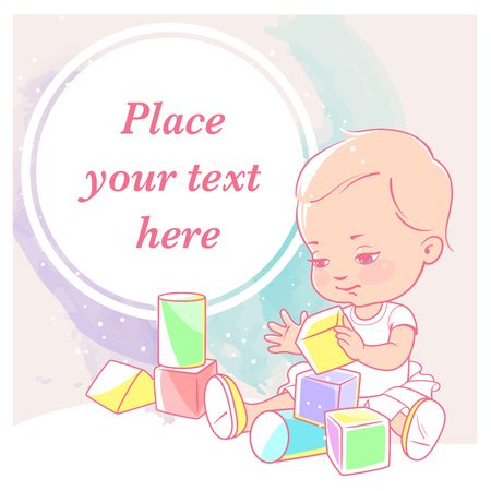 cute little girl with blocks. Baby with toys. Happy smiling toddler hold wooden cubes. Physical, intellectual development. Preset for blog. Template for moms social media. Vector illustration. Illustration