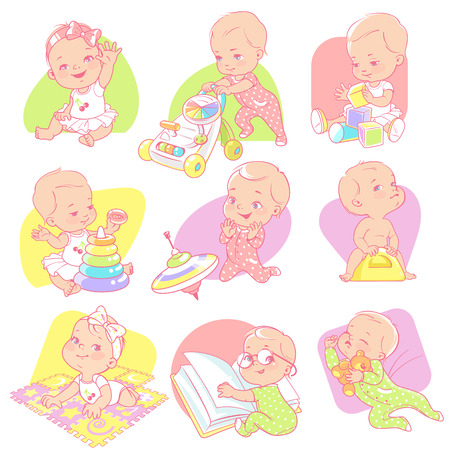 Toddler girl with different toys. Childs activities. Baby read, sleep, play, walk, sit on potty. One year girl, pink pajamas. Design for moms blog. Vector illustration