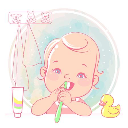 Beauty little girl Toothbrush in hand. Open mouth. Children hygiene. Ial media. Vector illustration.