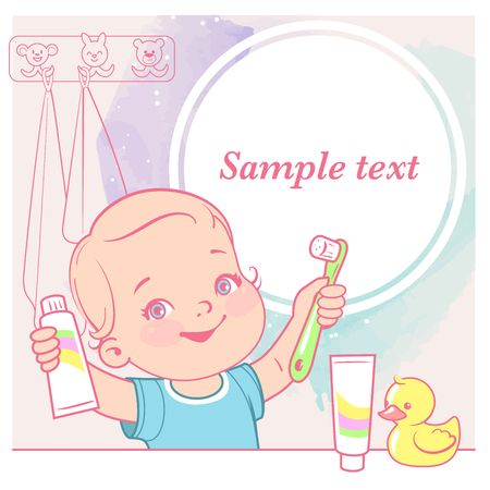 Beauty little girl Toothbrush in hand. Open mouth. Children hygiene. Template for mothers blog in social media. Vector illustration.
