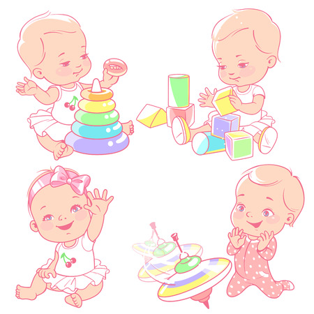 Set with different toys isolated. Baby girl play with pyramid, blocks, spinner. Active toddler. Baby development. One year girl. Preset for mothers blog. Design template. Vector illustration.