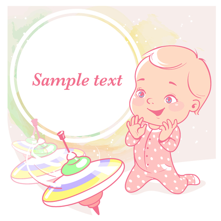 cute little girl with whirligig, peg-top. Baby with toys. Happy smiling toddler sit, play, hold toy. Physical, intellectual development. Preset for blog. Template for moms social media. Vector. Illustration