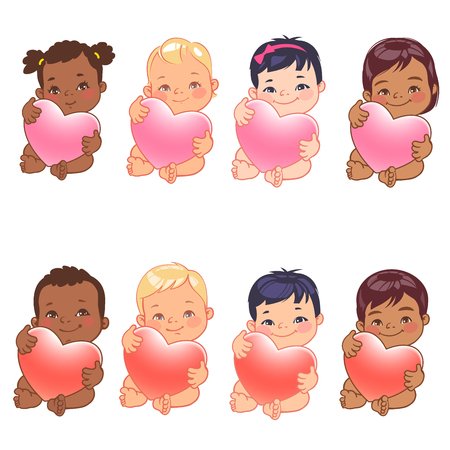 Set of round user pics with babies. Of cute nations hold heart. Asian, african, caucasian, hispanic, arabic, indian, Chinese children. Avatar for social media blog. Illustration