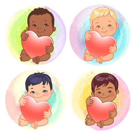 Set of round user pics with babies. Baby nations of various nations hold heart. Asian, african, caucasian, hispanic, arabic, indian, Chinese children. Avatar for social media blog.Vector