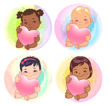 Set of round user pics with babies. Cute little girls of various nations hold heart. Asian, african, caucasian, hispanic, arabic, indian, Chinese children. Avatar for social media blog. Vector. Illustration