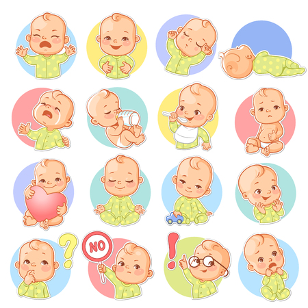 Set with baby stickers. Cute little baby boy Face expressions. Sad, happy, scared, sleep, cry. Template for social media, messenger. Vector illustration. Illustration