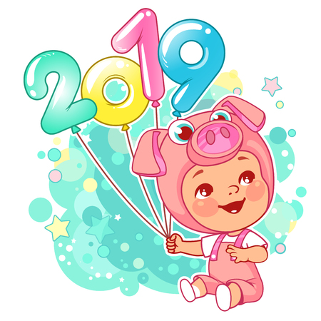 New year card. Chinese year symbol. Cute little baby wear costume of pig. Little piggy with air balloon numbers 2019. Baby boy or girl celebrate. Carnival costume. Kid celebrating.Vector illustration.