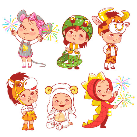 Cute little baby wear carnival costumes. Kindergarten masquerade. Preschool kids as animals. Mask of dragon, ox, mouse, snake, sheep, horse. Girls and boys play animals. Vector illustration.