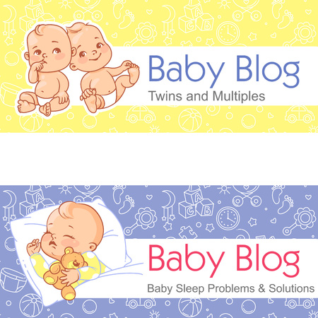 Baby sleeping. Twin babies. Design template banner with text and seamless background for web site, package, blog. Raising baby. Motherhood issues.Baby sleep problem. Twins and multiples. Vector. Иллюстрация