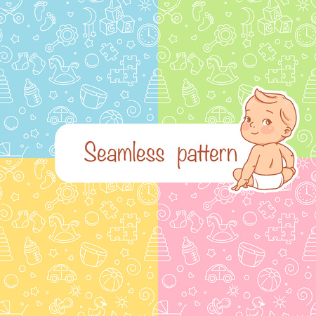 Set of four seamless patterns with cute little baby. Baby stuff icons. pastel colors. Endless background. Template for website, Baby theme. Vector.