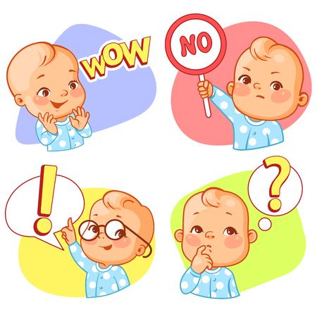 Conjunto con pegatina de bebé. Diferentes emociones. Ilustración de vector