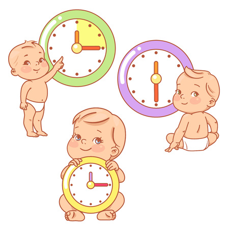 Little baby with clocks. Time for baby. Children sit, stand near big clock.  イラスト・ベクター素材