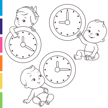 Little baby with clocks. Time for baby. Children sitting near big clock.