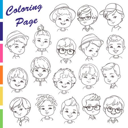 Collection of young boys portraits with different hairstyles Outline sketch, pencil strokes. man haircut set.Nice boys, teenagers. Children models.Monochrome vector illustration.