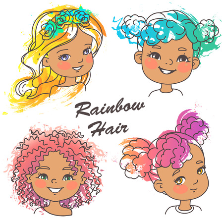 Different hairstyles of bright rainbow color.Grunge color splash, pencil strokes. Woman haircut set. Beautiful women. Children models. Vector illustration. Иллюстрация
