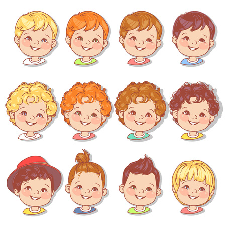 Avatar collection of boy faces. Vector illustration of different kids portraits in circle. Various color of hair, eyes, skin, nation. Vector illustration. Vetores