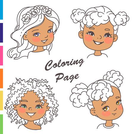 Outline sketch, pencil strokes. Woman haircut set.Beautiful women. Children models.Monochrome vector illustration.