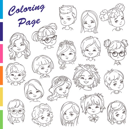 Coloring page. Collection of young girl portraits with different hairstyles