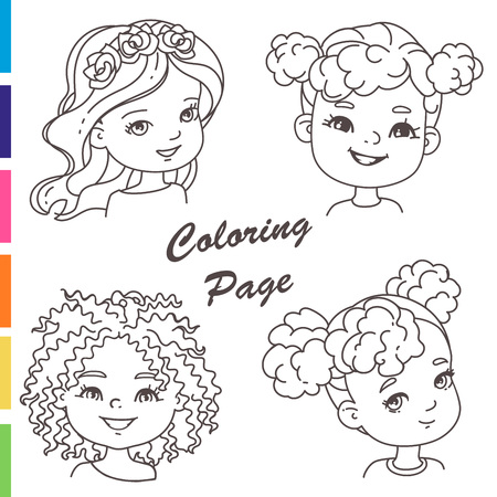 Coloring page. Young girl portraits with different hairstyles