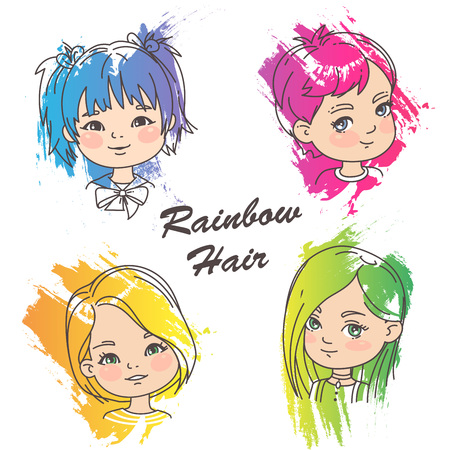 Different hairstyles of bright rainbow color.Grunge color splash, pencil strokes. Woman haircut set. Beautiful women. Children models. Vector illustration. Illustration
