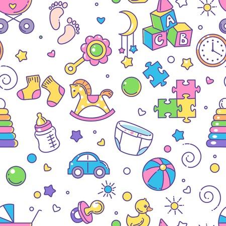 Endloser Hintergrund mit Babysachen. Hintergrund für Website, Blog, Paket. Spielzeug, Kleidung, Symbole, Symbole der Kindheit und Mutterschaft. Vektor-Illustration.