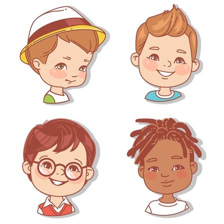 Set met jongensgezichten. Gebruikersfoto's voor blog.