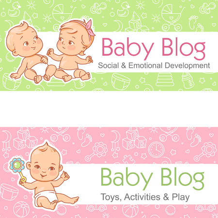 Design template banner with text and seamless background for website, package, blog. social, emotional development. Happy girls and boys sit. Vector.