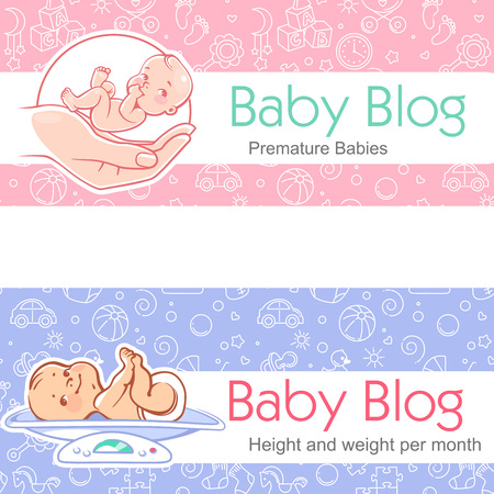 Cute little baby lay on scales. Premature baby care. Newborn with special needs. Height and weight per month. Vector illustration with Seamless background. Design template.