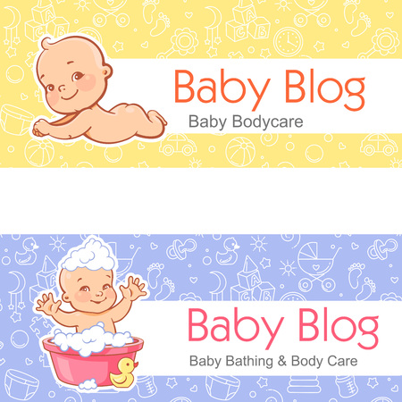 Cute little baby bath. Bath and body care. Newborn skin care. Vector illustration with seamless background. Design template.