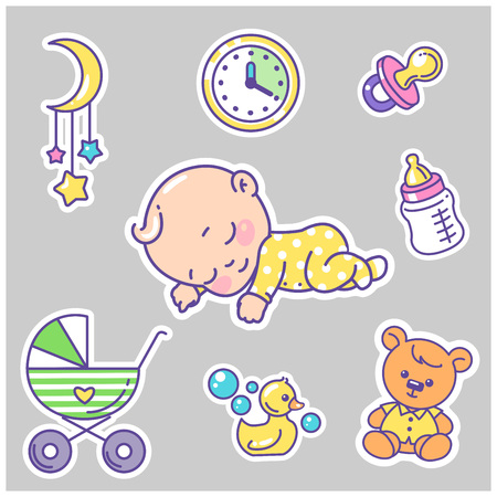 Vector collection of baby icons, stickers. Little baby sleeping. Objects for kids healthy sleep.. Child health and development icons for website, blog, package. Vector color illustration.