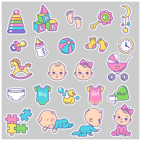 Vector collection of baby icons, stickers. Little baby girl and boy. Toys, stroller, potty, clothes, bottle. Child health and development icons for website, blog, package. Vector color illustration.