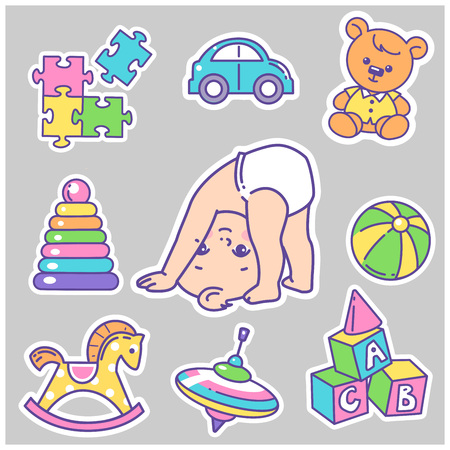 Vector collection of baby icons, stickers. Little baby girl or boy playing.Different toys. Child health and development icons for website, blog, package. Vector color illustration.