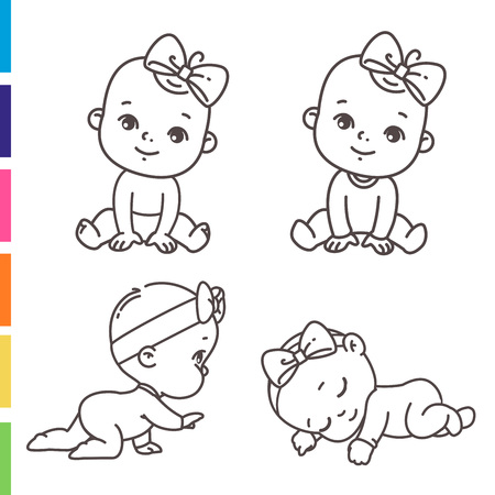 girl wear pink pajamas with bow and diaper. Child sleeping, sitting, crawling. Emblem of kid health. Vector monochrome illustration. Иллюстрация