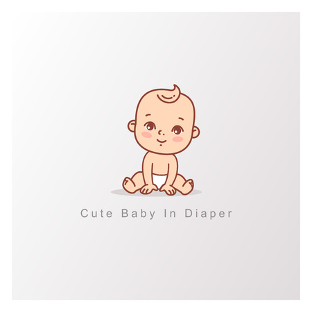 Happy baby girl boy in diaper sitting isolated. Design template. Vector color illustration. Illustration