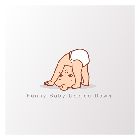 Baby girl boy isolated. Funny child stand on head, upside down. Design template. Vector color illustration. Illustration