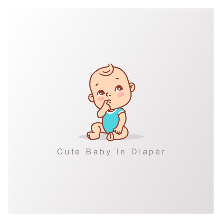 Curious baby girl or boy in blue bodysuit isolated. Design template. Vector color illustration.