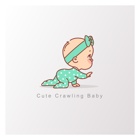 Baby girl in green pajamas crawl isolated. Curious baby. Design template. Vector color illustration.