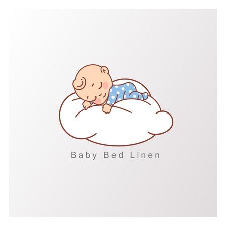 Oreiller et couverture pour enfant. Modèle de logotype pour un sommeil sain, vêtements de lit pour bébé, linge de maison. Illustration vectorielle de couleur.