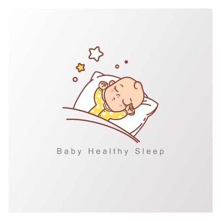 Kind schläft auf Kissen unter Decke, Sterne oben. Hände hoch, Spielzeug hängt über schlafendem Baby. Designvorlage. Farbvektorillustration.