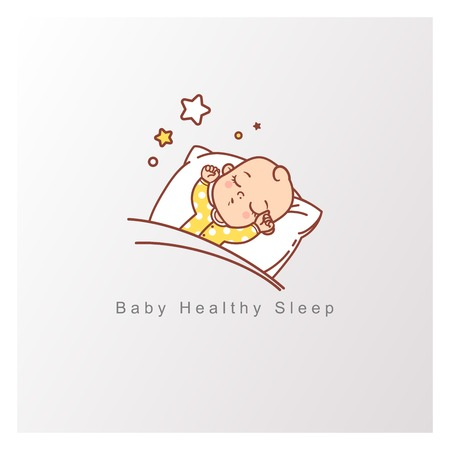 L'enfant dort sur un oreiller sous une couverture, des étoiles au-dessus. Les mains en l'air, Toy pendre au-dessus de bébé endormi. Modèle de conception. Illustration vectorielle de couleur.