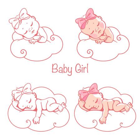 Newborn baby girls sleeping on white cloud. Illustration