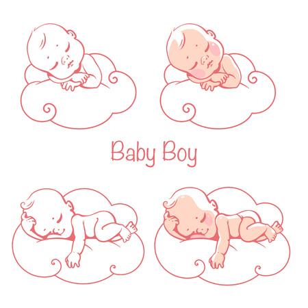Newborn baby boys sleeping on white cloud.