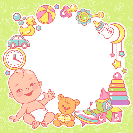 Baby shower design template. Baby boy with toy frame.