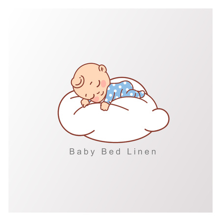Little baby boy in blue pajamas  sleep peacefully on soft white cloud.