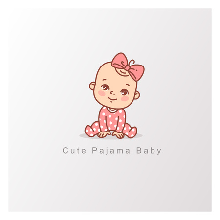 Cute little baby isolated. Design template.